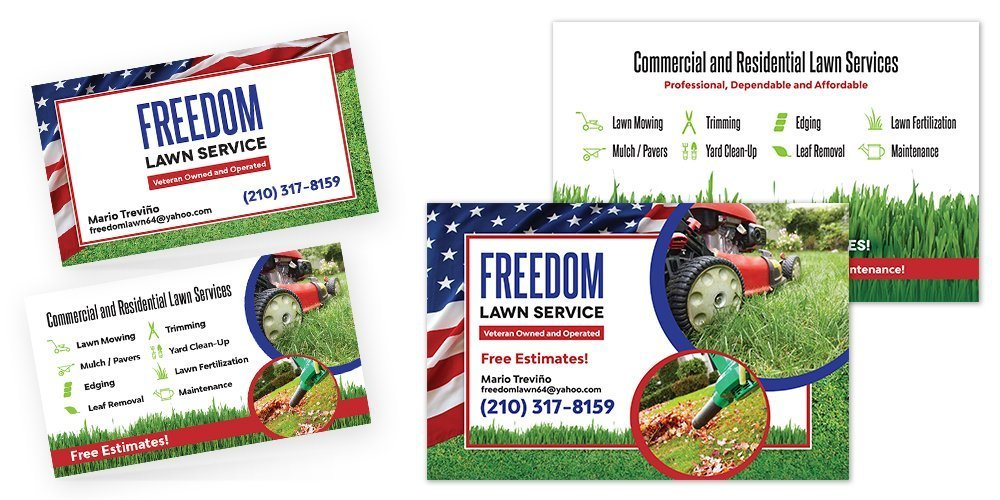 Freedom Lawn Service Business Cards and Flyers • BlackStone Studio