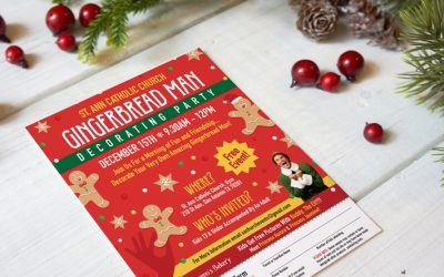 Gingerbread Man Decorating Party Flyer Design