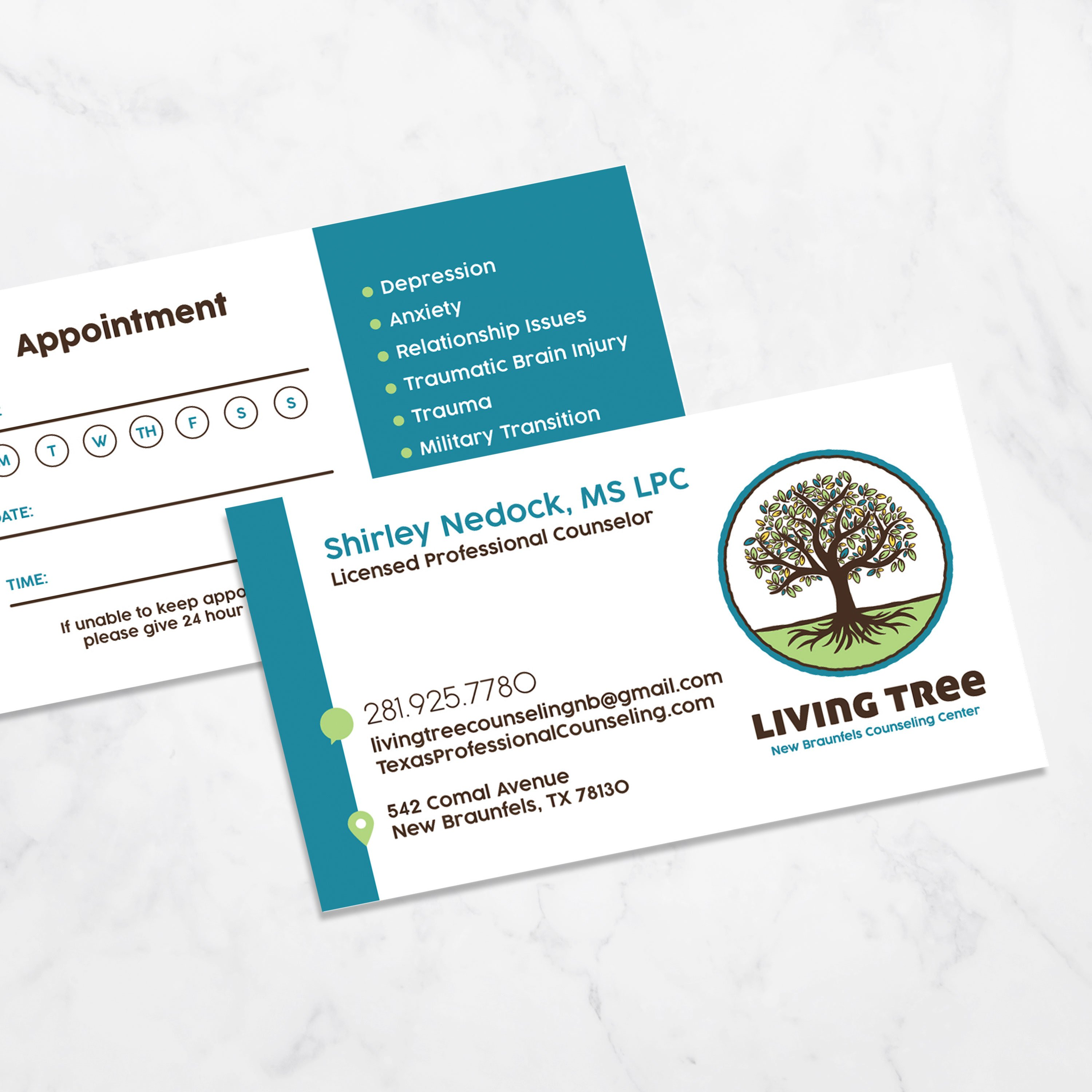 Living Tree New Braunfels Counseling Center Business Cards