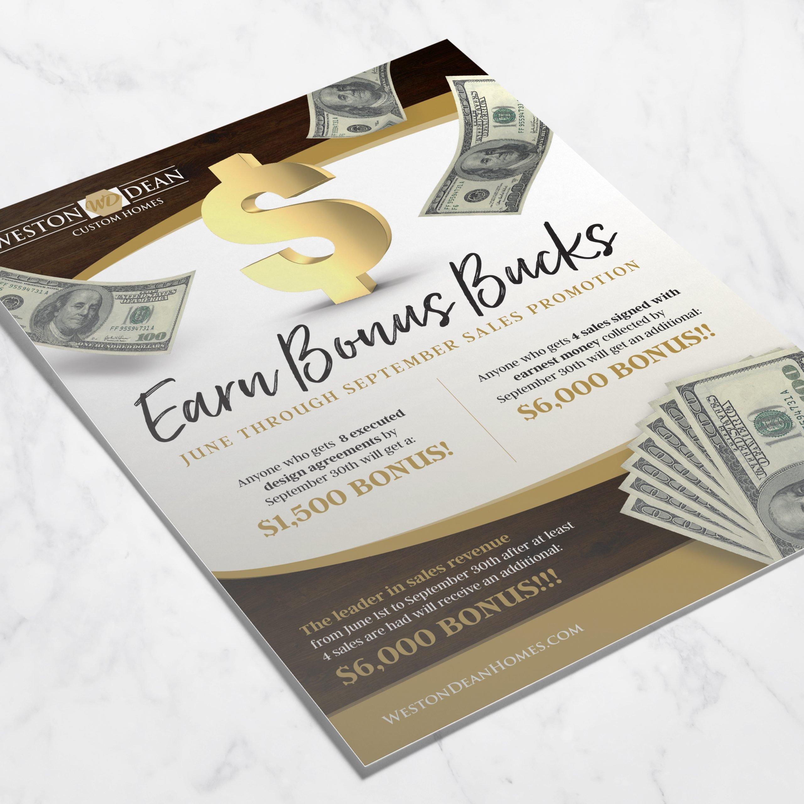 Weston Dean Custom Homes Incentive Flyer